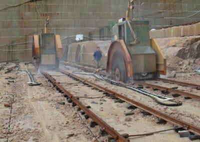 Cutting travertine in the quarry in Turkey