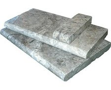 Silver travertine bullnose pool coping tiles