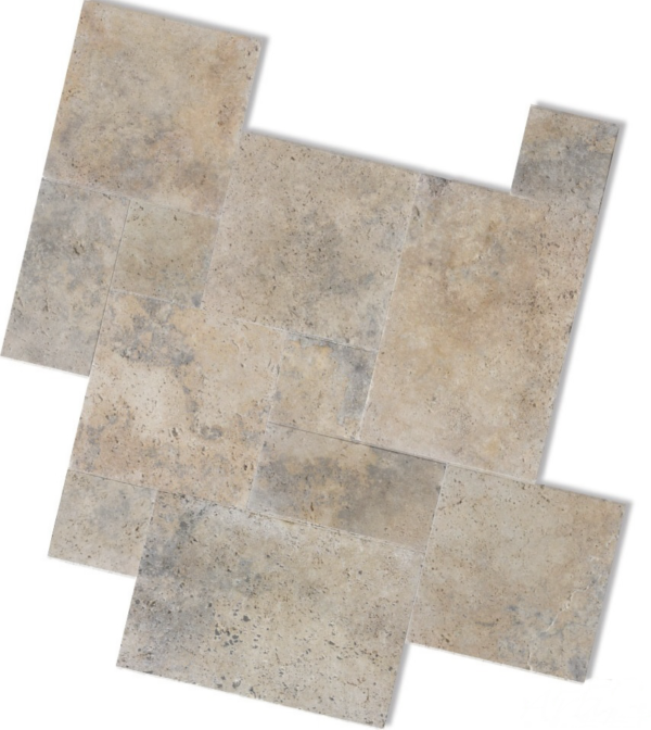 Rustic Ivory Grey Antique Travertine in an Unfilled finish