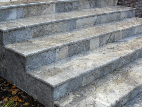 Silver Travertine Bullnose step treads