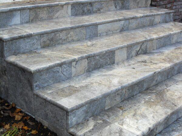 Silver Travertine Bullnose step treads