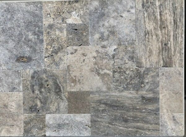 Unfilled and tumbled Silver Travertine french pattern