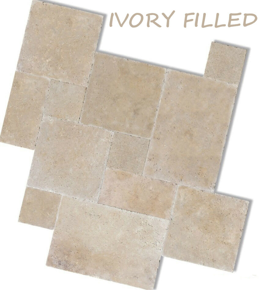 Ivory grout filled travertine travertine tiles for Best grout color for travertine tile