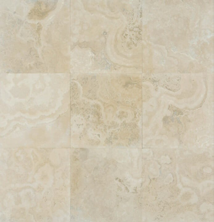Filled and honed travertine tiles