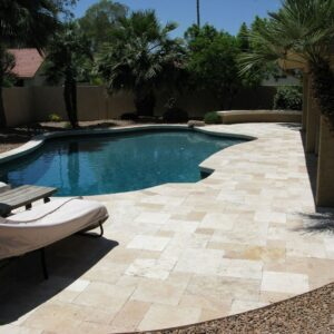 ivory french pattern travertine unfilled and tumbled travertine pavers and pool coping tiles