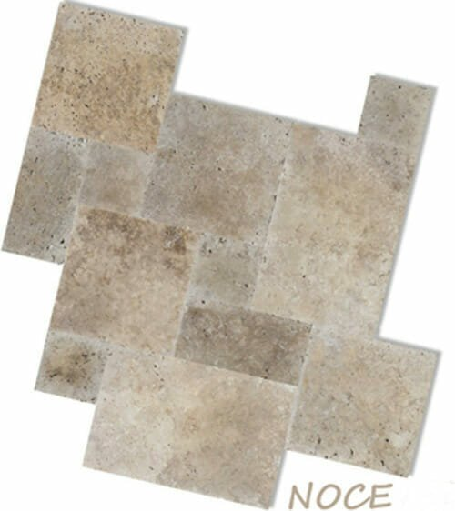 noce travertine unfilled and tumbled french pattern
