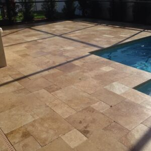 noce travertine unfilled and tumbled french pattern travertine pavers and pool coping tiles