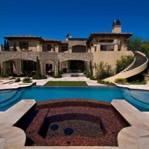 Noce Travertine pool coping and pavers