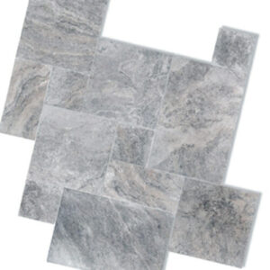 silver travertine unfilled and tumbled french pattern