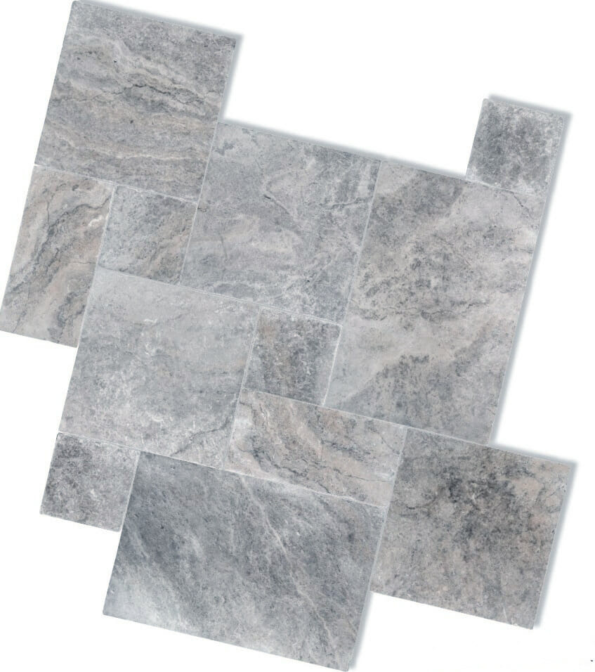 SILVER FRENCH PATTERN TRAVERTINE TILES