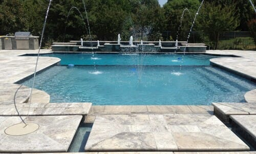 silver travertine unfilled and tumbled pool pavers and coping tiles