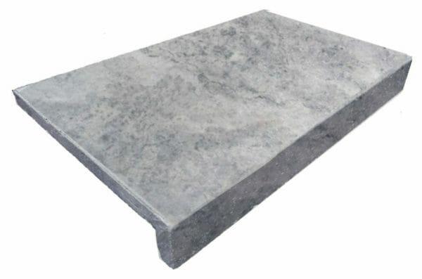 Silver Travertine Drop Face Pool Coping Tile Travertine