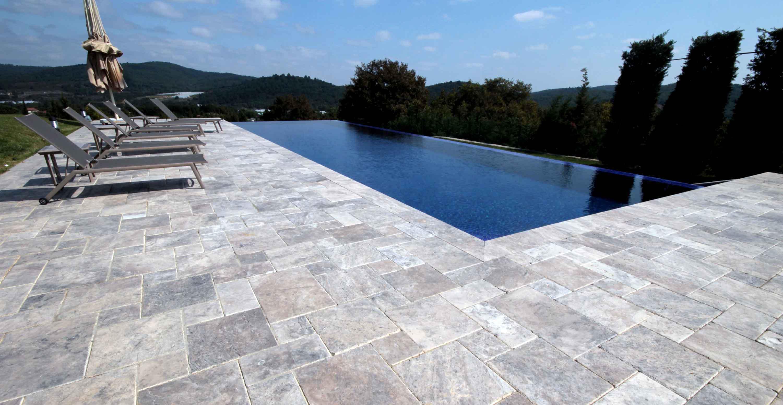 Silver Travertine Tiles french pattern
