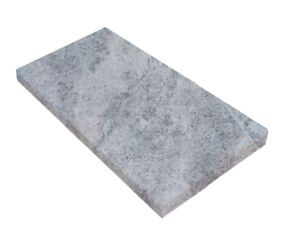 silver Travertine bullnose Pool Coping unfilled and tumbled
