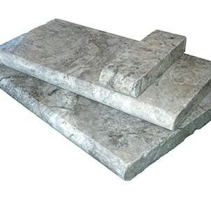 Silver travertine bullnose pool coping tiles UNFILLED AND TUMBLED