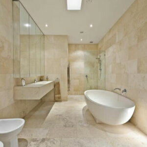 ivory filled and honed travertine bathroom tiles