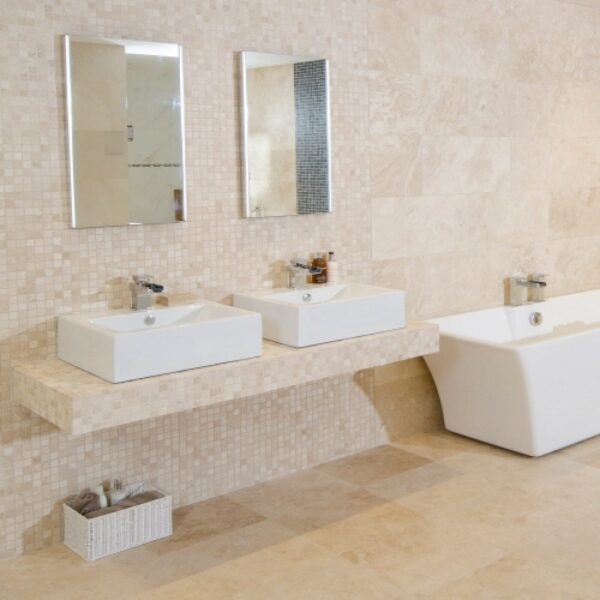 ivory Travertine filled and honed bathroom tiles