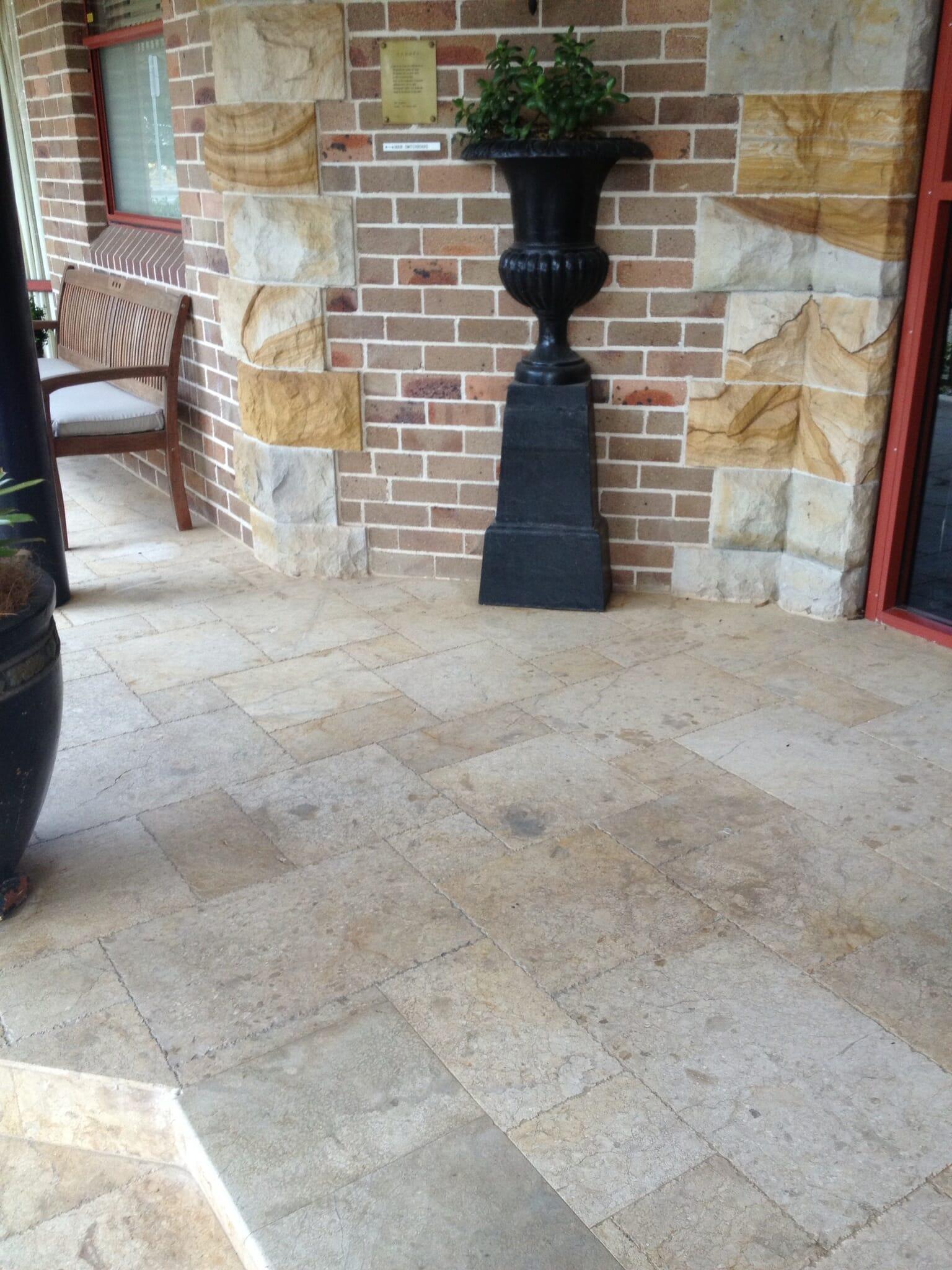 Travertine french pattern tumbled paving