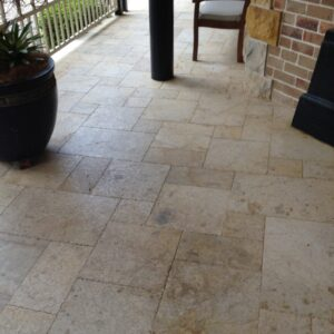 antique travertine unfilled and tumbled french pattern pathway
