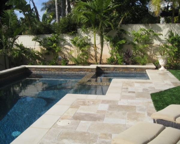 ivory travertine french pattern unfilled and tumbled travertine pavers and pool coping tiles