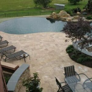 noce travertine unfilled and tumbled french pattern pool pavers