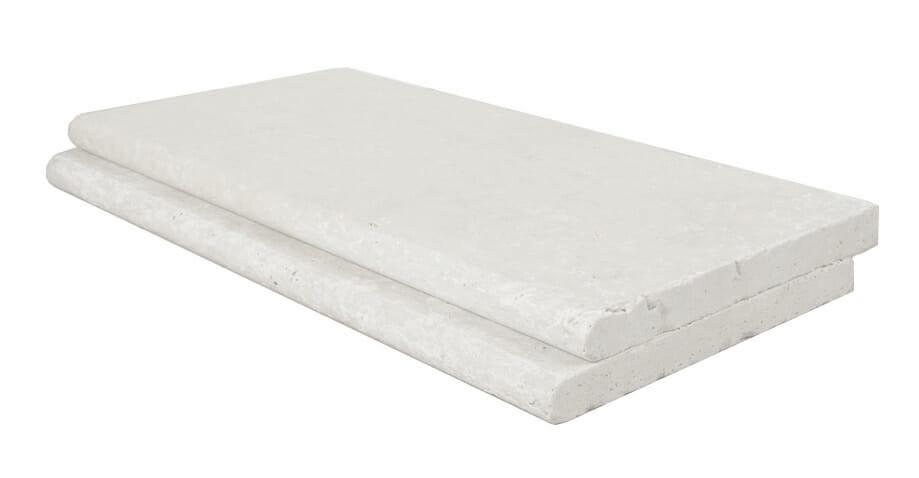 White travertine bullnose pool coping tile