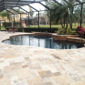 antique travertine pool coping and pavers