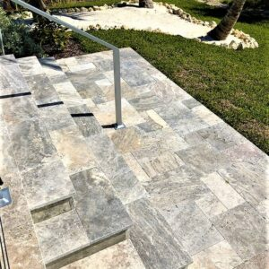 Silver travertine unfilled and tumbled step treads