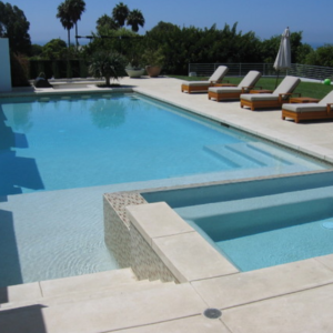 capri white travertine pool coping and pavers