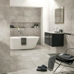 Silver Honed and filled Travertine Tiles in Bathroom